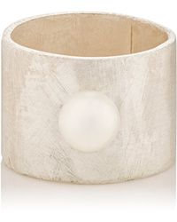 Julie Wolfe - Akoya Pearl & Sterling Silver Wide-band Ring - Lyst
