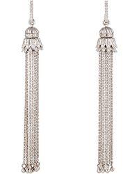 Sara Weinstock - White Diamond & White Gold Tasseled Earrings - Lyst