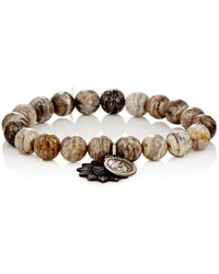 Miracle Icons - Silver Leaf Jasper Bead & Charm Bracelet - Lyst