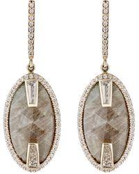 Monique Pean Atelier - White Diamond & Green Sapphire Drop Earrings - Lyst