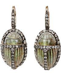 Sidney Garber - Grey Diamond & Labradorite Scarab Drop Earrings - Lyst