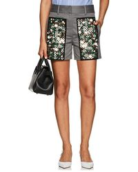 Prada - Embellished Cotton Shorts - Lyst