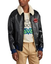 Gucci chateau Marmont Sherpa-lined Leather Aviator Jacket - Black