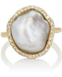 Samira 13 - Diamond & Keshi Pearl Ring - Lyst