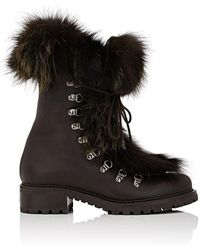 Barneys New York - Fur-trimmed Leather Ankle Boots - Lyst