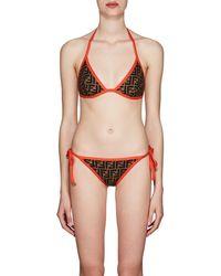 Fendi Logo Triangle String Bikini - Brown