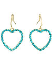 Jennifer Meyer - Turquoise Large Open Heart Drop Earrings - Lyst