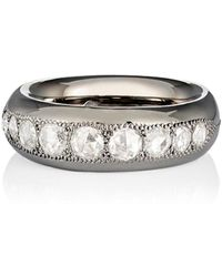 Roberto Marroni Diamond & Oxidized Gold Band - White