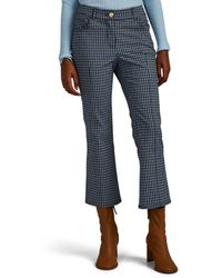 10 Crosby Derek Lam Plaid Cotton-blend Crop Flared Pants - Blue