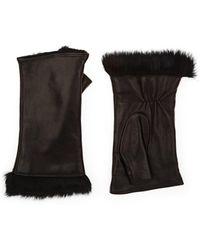 Barneys New York - Fur-lined Leather Fingerless Gloves - Lyst
