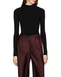 The Row Middi Mock Turtleneck Fitted Top - Black