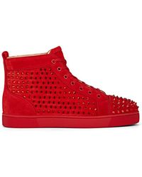 100% authentic 5b4ea 175b8 Louis Crystal-spike Suede Sneakers - Red
