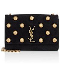 Saint Laurent - Monogram Kate Medium Suede Chain Bag - Lyst