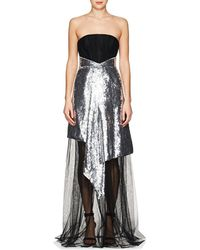OSMAN Katherine Embellished Tulle Strapless Gown - Metallic