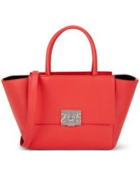 CALVIN KLEIN 205W39NYC Bonnie Leather Shoulder Tote Bag - Red