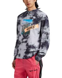 Palm Angels Highest Long Sleeve Tie Dye T-shirt - Gray