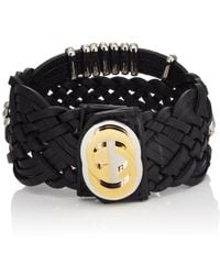 Gucci - Braided Leather Bracelet - Lyst