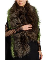 Barneys New York Fox Fur Scarf - Brown