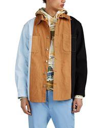 424 - Colorblocked Canvas & Denim Oversized Work Shirt - Lyst