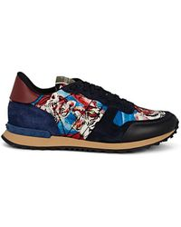 Valentino - Rockrunner Mixed-material Sneakers - Lyst