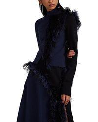 Cedric Charlier Feather-trimmed Wool-blend Asymmetric Jumper - Blue