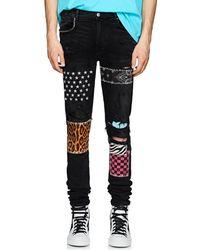 Amiri - Art Patch Distressed Slim Jeans - Lyst