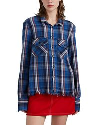 Greg Lauren Plaid Cotton Flannel Studio Blouse - Blue