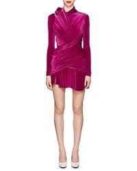 Balenciaga - Ruched Velvet Minidress - Lyst