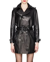 Saint Laurent - Leather Double-breasted Trench Coat - Lyst