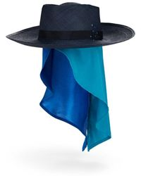 House of Lafayette Reed Sink Straw Hat - Blue
