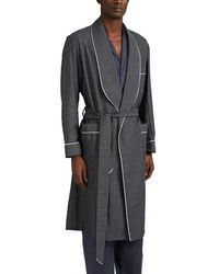 Barneys New York Grid-pattern Cotton Robe - Blue