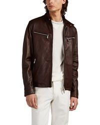 Eleventy Leather Moto Jacket - Brown