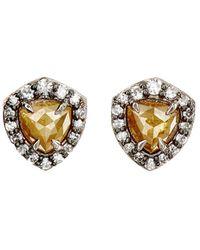 Nak Armstrong - Rustic & Pavé White Diamond Stud Earrings - Lyst