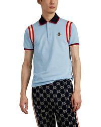 Gucci Bee Appliqué Polo Shirt - Blue