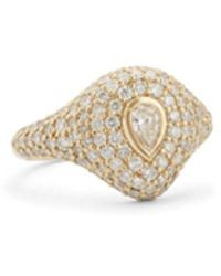 Carbon & Hyde Pear Bling Pinky Ring - Metallic