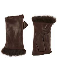 Barneys New York - Rabbit-fur-lined Leather Fingerless Gloves - Lyst