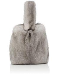 Barneys New York Mink Fur Wristlet Bucket Bag - Metallic