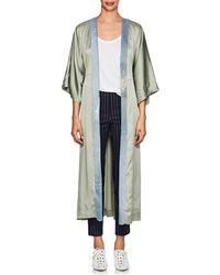 Greg Lauren Denim-trimmed Silk Kimono - Blue