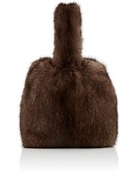 Barneys New York Mink Fur Wristlet Bucket Bag - Brown
