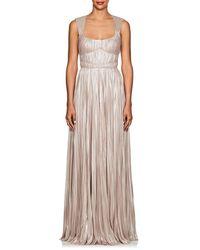 J. Mendel Shimmering Plissé Gown - Multicolor