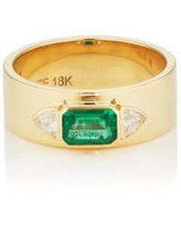 Azlee - Emerald & Diamond Ring - Lyst