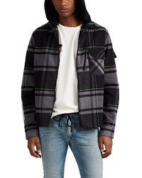 Off-White c/o Virgil Abloh Logo Plaid Flannel Shirt Jacket - Black
