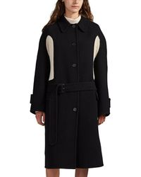 JW Anderson Knit-inset Wool-cashmere Coat - Black
