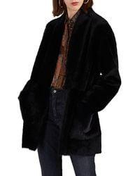 Barneys New York Shearling Belted Coat - Black