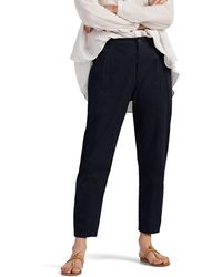 Pas De Calais Cotton Tapered Crop Pants - Blue