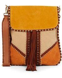Alberta Ferretti - Patchwork Suede Shoulder Bag - Lyst 7816418690d3e