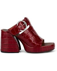 Chloé Buckle-strap Embossed Leather Platform Mules - Red