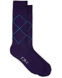 Barneys New York Argyle Cotton Mid-calf Socks - Purple