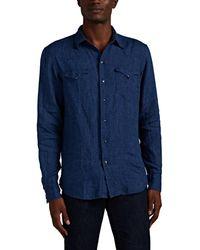 Ralph Lauren Purple Label Linen Chambray Western Shirt - Blue