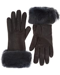 Barneys New York - Fur-trimmed Nappa Leather Gloves - Lyst